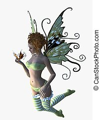fairy with butterfly in her hand - 3d render