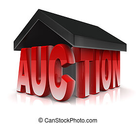 Auction Property - Auction word with a roof property acution...