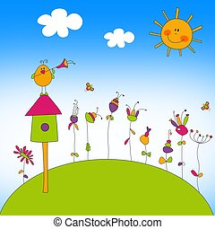Illustration for children - Country landscape. Colorful...