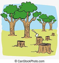 Ilustración, deforest, caricatura