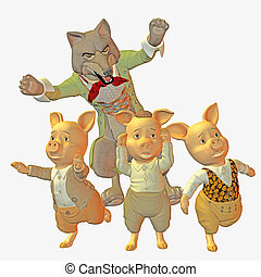 Big bad wolf and three little pigs - 3d render
