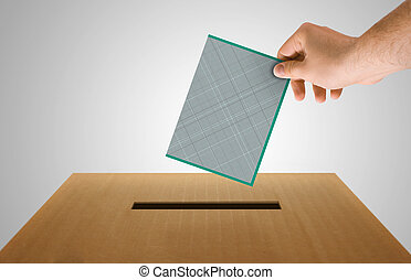 Vote - Human hand insert the electoral document on urn for...