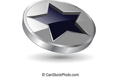 Logo metallic star - logo, 3d black and metallic star...