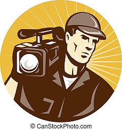cameraman film crew shooting - illustration of a cameraman...