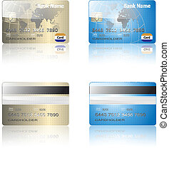 credit cards - Realistic credit cards gold and blue, vector...