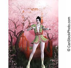 samurai girl - 3d render
