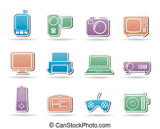Hi-tech technical equipment icons