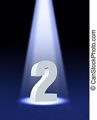 nombre, deux, sous, projecteur