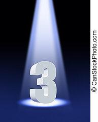 nombre, 3, sous, projecteur