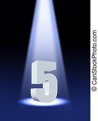 nombre, 5, sous, projecteur