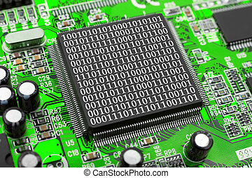 Computer chip and bytes - Computer chip and binary digits -...