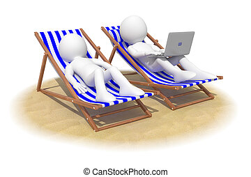 Couple sitting in beach chairs, the man has a laptop on his...