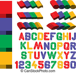 shaded font with design elements from 4 main colors