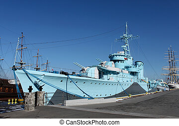 Old warship from second world war in the Gdynia's harbour.
