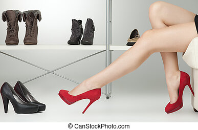 red high heels on long legs - long legs red high heels...