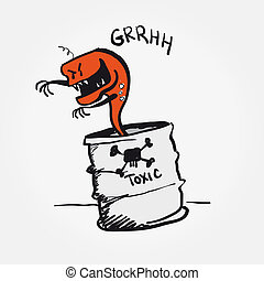 Toxic alert danger vector cartoon sign