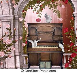 concert in a rose pavillion - 3d render