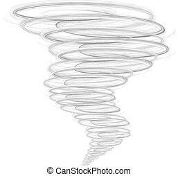 Illustration of tornado, as a natural disaster  on white