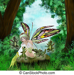 me and my little dragons - a young fairy with her dragons,...
