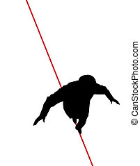 Man walking tight rope