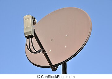 Satellite dish on blue background - Modern satellite dish...