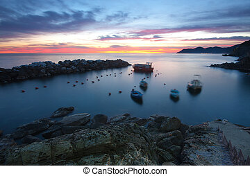 Sea at dusk - Beautiful view of the sea at twilight in...