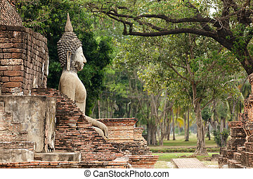 old buddha statue - old buddha big statue in sukhothai...