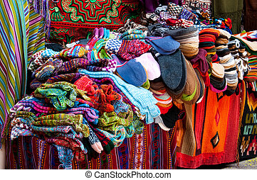 Colorful Fabric from Peru - Colorful Fabric at Pisac market...