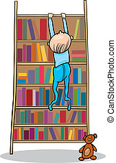 baby boy climbing on bookcase - illustration of baby boy...