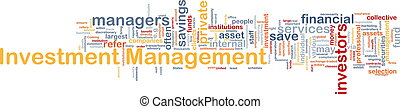 Investment management background concept