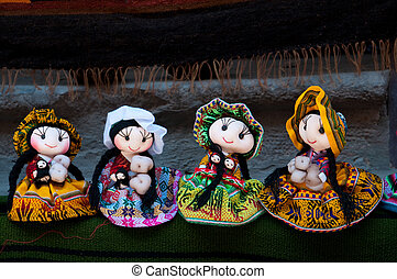 Beautifull dolls from Peru - Colorful Fabric at Cusco market...