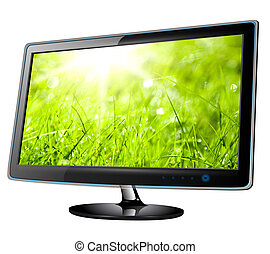 Monitor lcd, tv with green grass on screen.