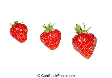 three strawberries isolated on white background