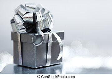 silver christmas gift macro close up