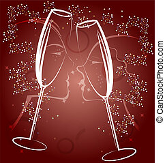 background two glasses of champagne - on a brown background...