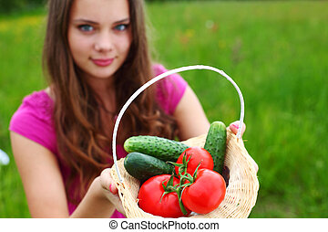 take vegetables - woman give vegetables to you