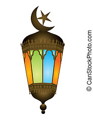 Old style arabic lamp with moon crescent - raster...