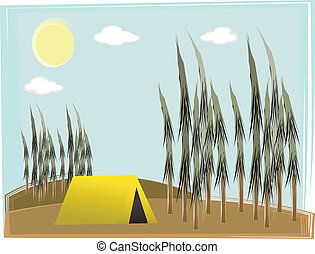Single camp tent on hilly forest da - Retro illustration of...
