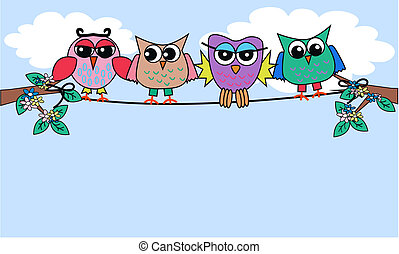 owls - colourful owls sitting on a rope