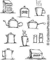 From the Kitchen - A collection of pen and ink style...