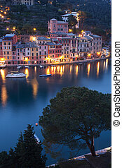 Portofino by night - The beautiful Portofino village in...