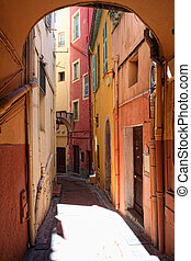 streetview of menton - fine image of colorful building in...