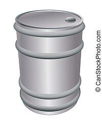 metallic barrel - Metallic barrel isolated on white