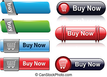 Buy buttons set for website, vector.