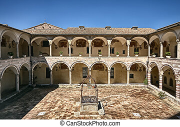 Courtyard,Basilica of St. Francis,Assisi, Italy