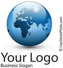 Logo globe - Logo earth globe, planet. Vector illustration.