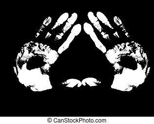 hand print  isolated on black,vector illustration