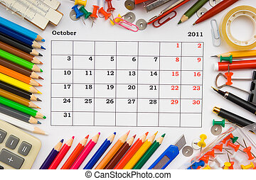 monthly calendar with office and stationery for 2011 -...