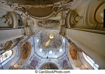 Interior of St. Nicholas Church, Prague, Czech Republic -...