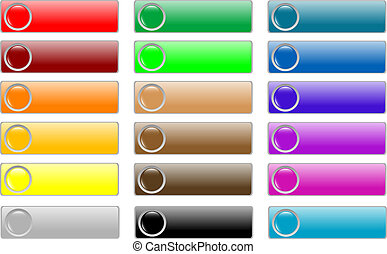glossy empty web buttons colored